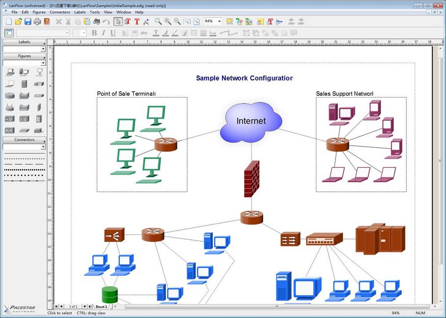 pacestar lanflow是一款拥有详细使用图解,合理的操作界面设计,全面的绘图功能的强大网络拓扑图制作软件。网络拓扑图制作软件(pacestar lanflow)和一般流程图之类的软件不同的是,可以让使用者花费不太多的力气,就可以制作出EMF,WMF,BMP,JPG等格式的网络拓扑图。 网络拓扑图制作软件(pacestar lanflow)包括二维和三维轮廓常见网络符号,符号,和一些基本的方框图符号。你可以添加剪贴画代表从您的特定环境下的网络设备。lanflow是最简单的用于管理和记录你的网络解决